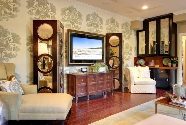 Hidden TV Mirror in Living Room