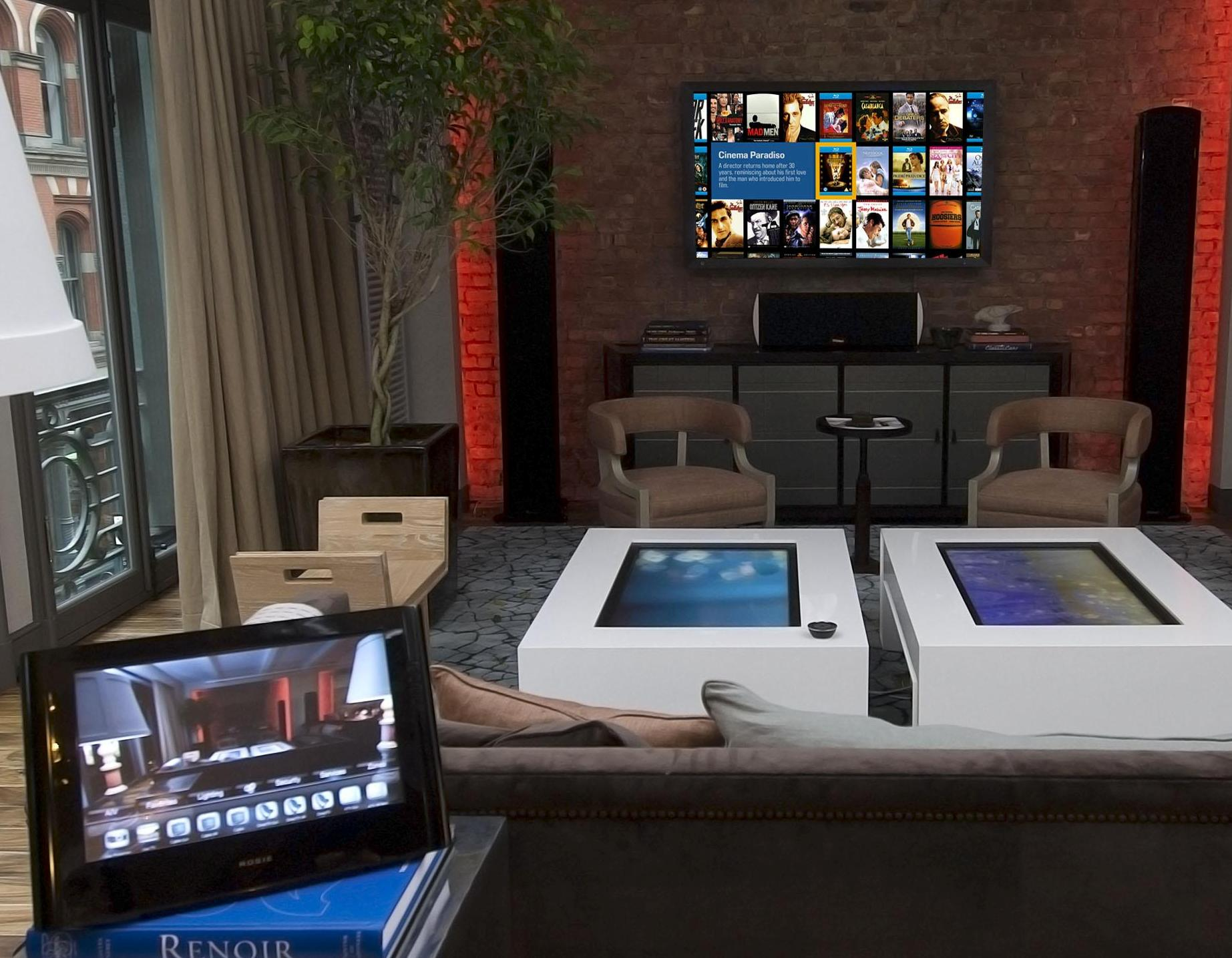 Video Room with Touchscreen Coffee Tables