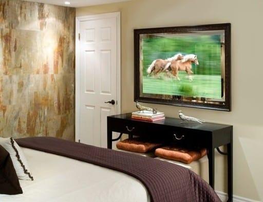 Hidden TV Mirror in Bedroom