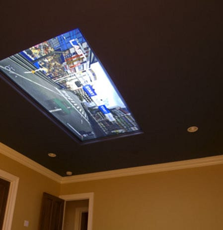 TV Mounted Flat on Ceiling