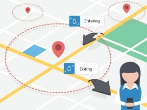 """An example of geofencing. Tasks can be triggered when you enter or exit the """"fenced"""" area."""