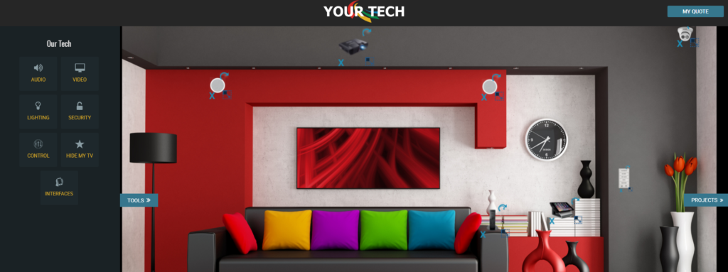 Drag and drop items to design and quote your home theater.